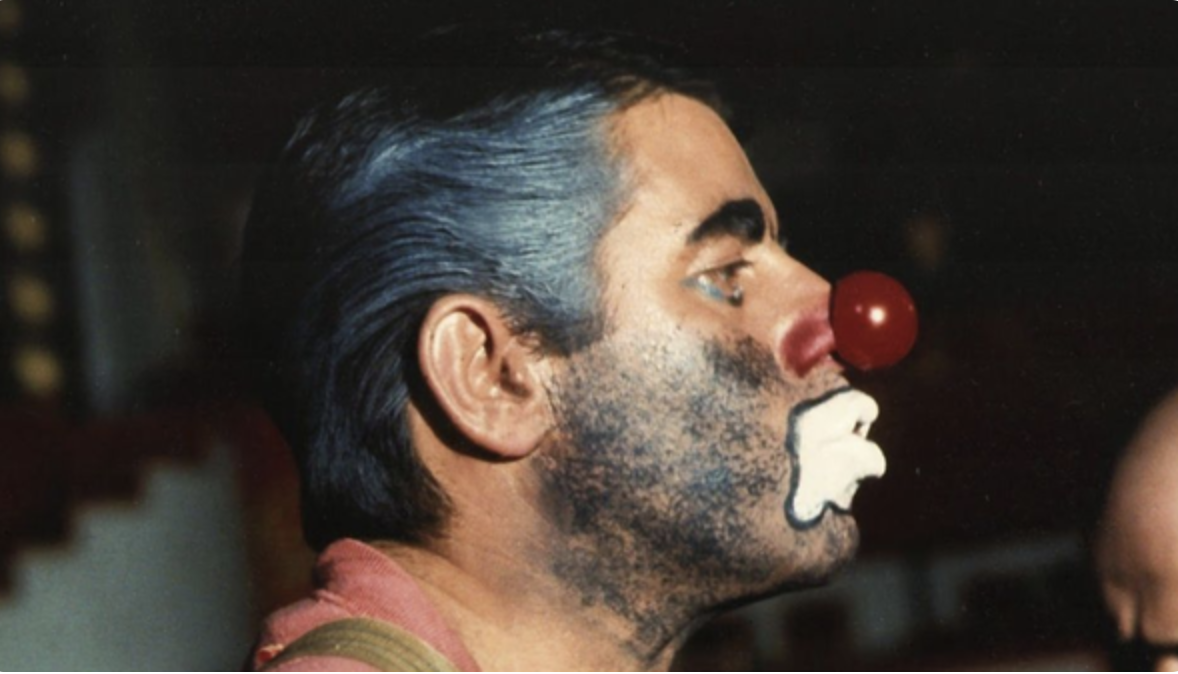 Jerry Lewis as the clown in his ill-fated movie