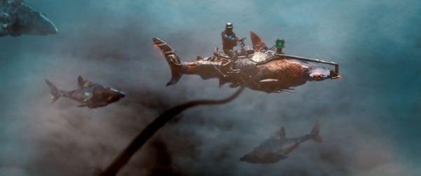 robot shark flying through sky