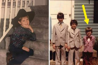 a kid in a cowboy hat and a kid in a snazzy suit