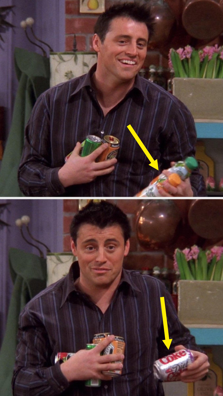 Joey is holding juice in his left hand, then he's got Coke in his left hand
