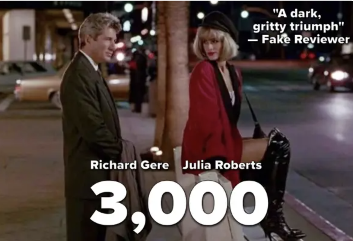 A fake pretty woman poster with the title 3000 and a fake review calling it dark and gritty