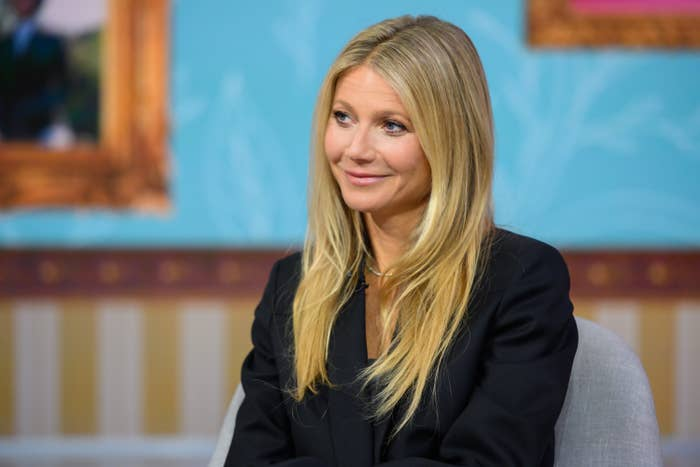 Gwyneth smirks a little during an interview