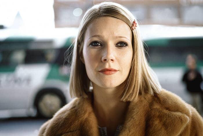Gwyneth wearing a fur jacket and dark eyeliner in a scene from the film