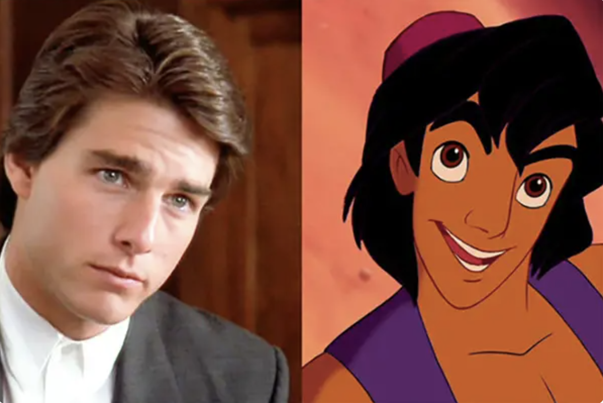 A side-by-side image of Cruise and the animated Aladdin looking very similar