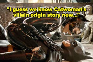 Catwoman on top of Batman, with text reading,