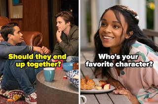 Victor and Benji with the question should they end up together side by side with mia and the question who's your favorite character?
