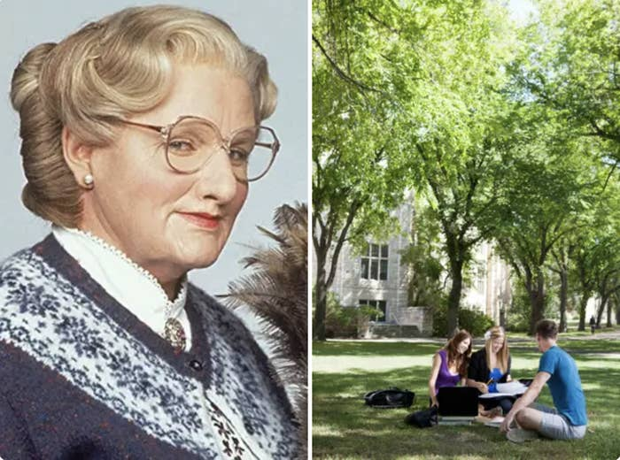 Mrs Doubtfire and college students studying on a campus lawn