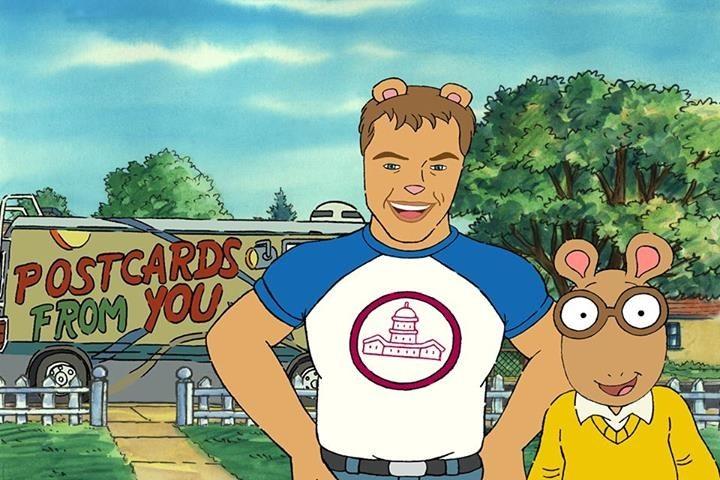 Matt standing next to fellow aardvark, Arthur