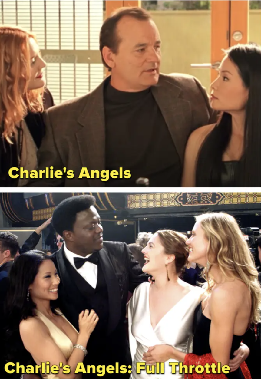 Bill Murray with the angels and then Bernie Mac with them
