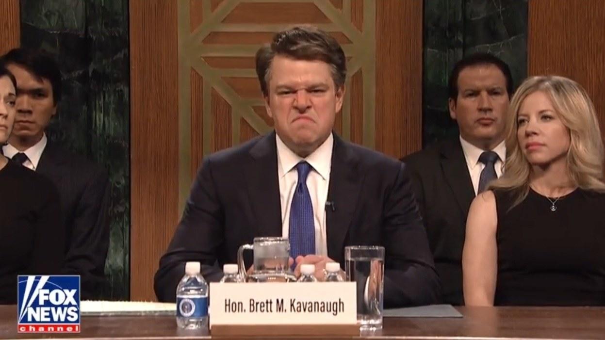 Matt Damon appearing as Brett Kavanaugh on SNL