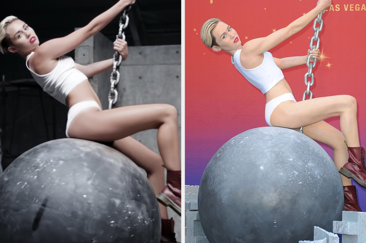"""Miley Cyrus swinging on a wrecking ball in her """"Wrecking Ball"""" music video and her wax figure on the right doing the same thing"""
