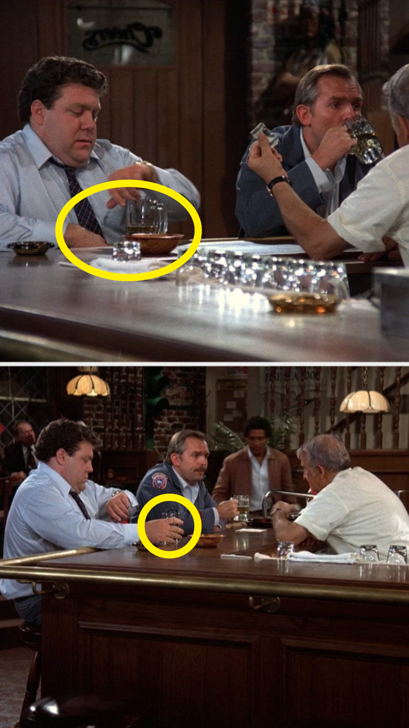"""On """"Cheers"""", Norm's hand isn't on his glass, but in the next shot it is"""