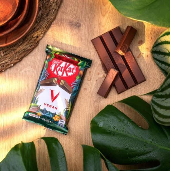 A block of KitKat vegan chocolate on a desk