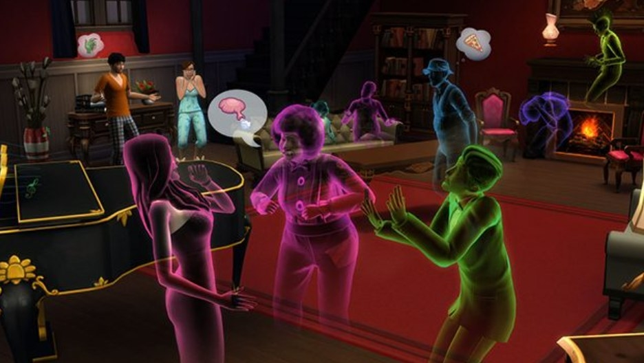 three ghost sims chatting at a fancy party