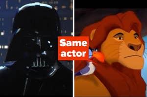 Darth Vader and Mufasa labeled