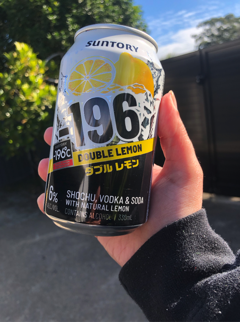A hand holding a can of Minus 196 Double Lemon
