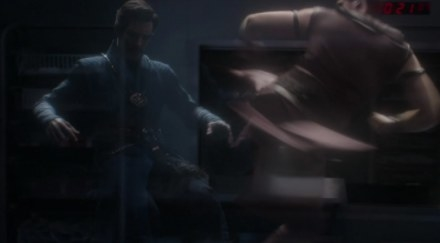 Doctor Strange fights Kaecilius as they are both phrasing, floating presences in the physical world.