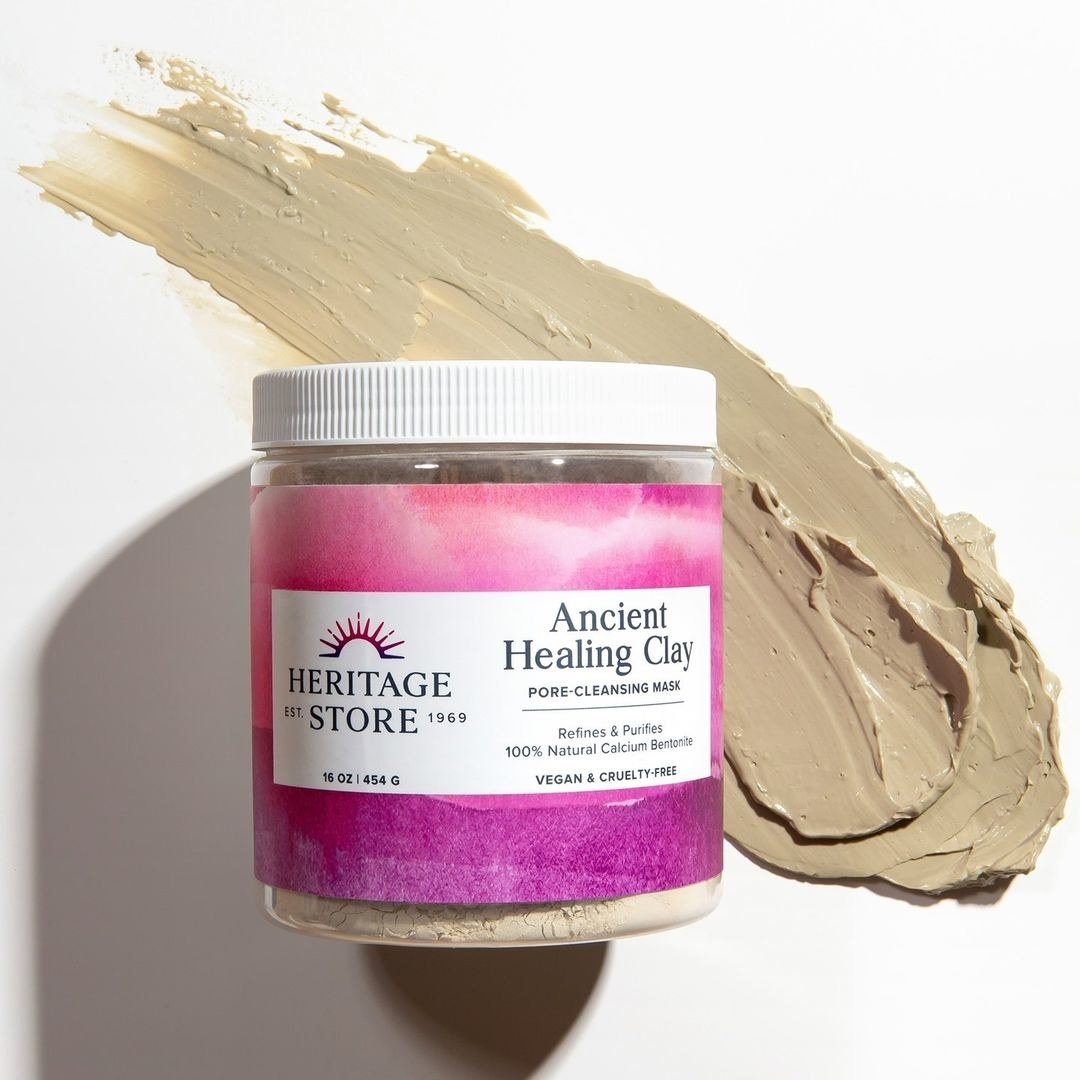 heritage store healing clay next to a smear of the clay