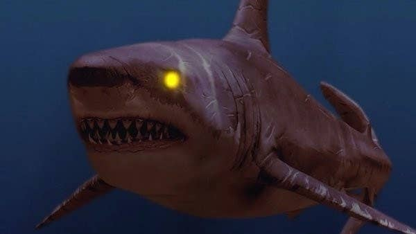 shark in the water with glowing eyes
