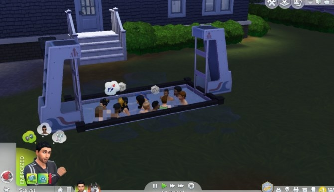 A bunch of sims in a small pool with no ladder to get out