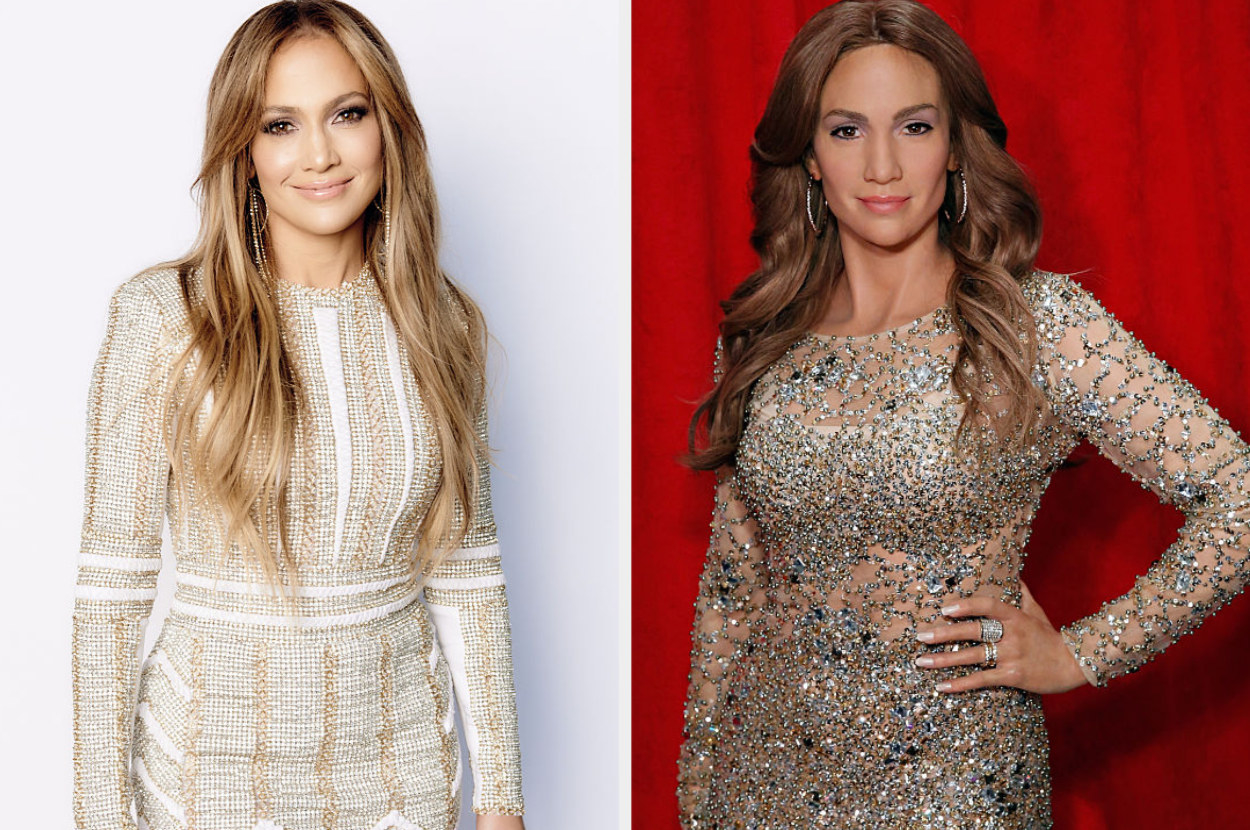 """Jennifer Lopez promo photo for """"American Idol"""" and her wax figure"""