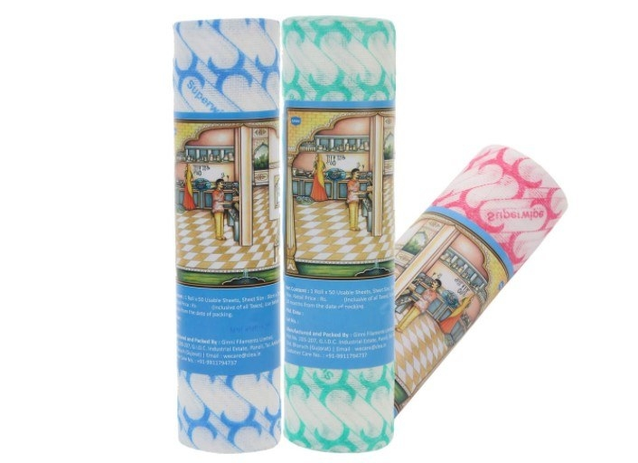Three packs of kitchen rolls in different colours.