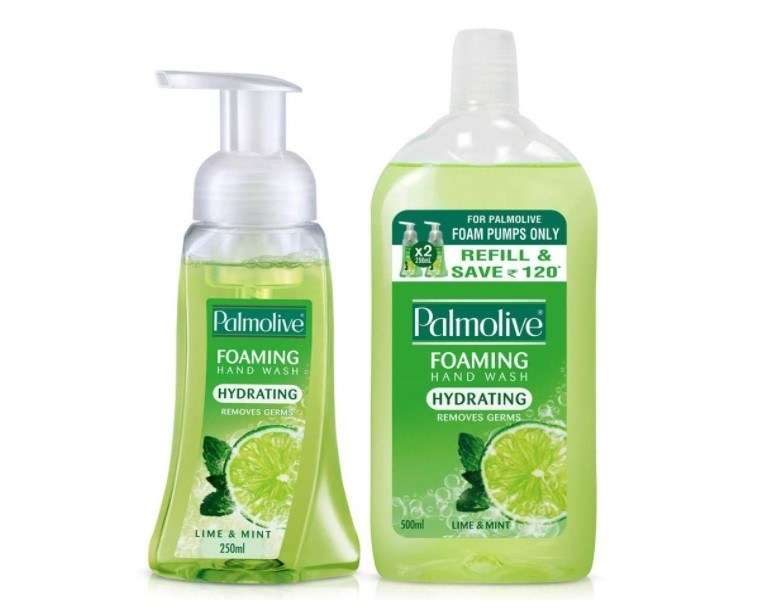 A Palmolive foaming handwash bottle with a refill pack.