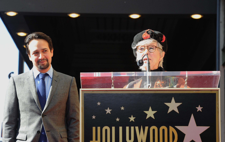 Actress Rita Moreno speaks at Lin-Manuel Miranda Star Ceremony held On The Hollywood Walk Of Fame on November 30, 2018 in Hollywood, California