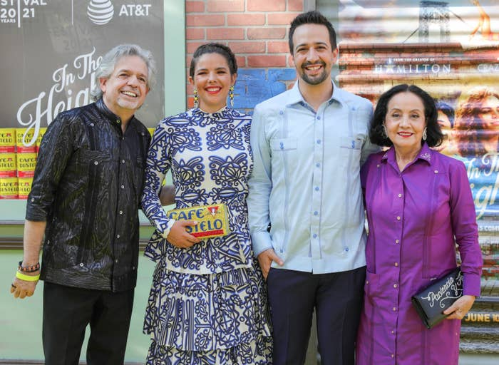 Luis A. Miranda, Vanessa Nadal, Lin-Manuel Miranda, Luz Towns-Miranda at arrivals for IN THE HEIGHTS Premiere at 2021 Tribeca Festival Opening Night, United Palace Theatre in Washington Heights, New York, NY June 9, 2021