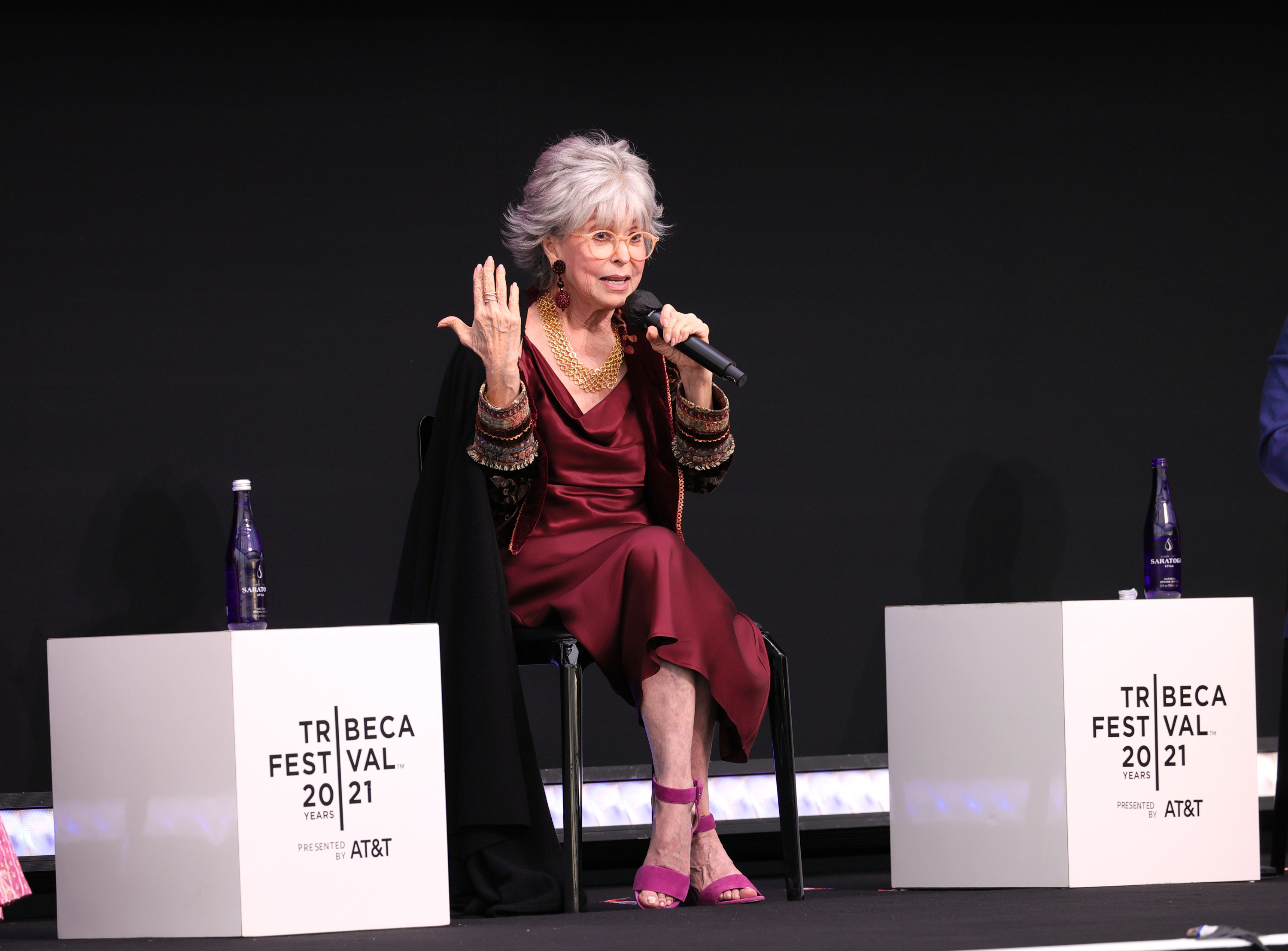 """Rita Moreno speaks during the 2021 Tribeca Festival Premiere of """"Rita Moreno: Just a Girl Who Decided to Go for It"""" at Pier 76 on June 12, 2021 in New York City"""