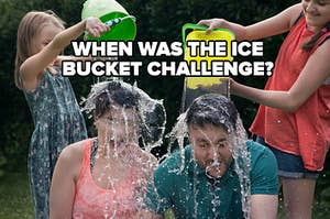 """Kids dumping buckets of ice water on their parents' heads labeled, """"When was the ice bucket challenge?"""""""