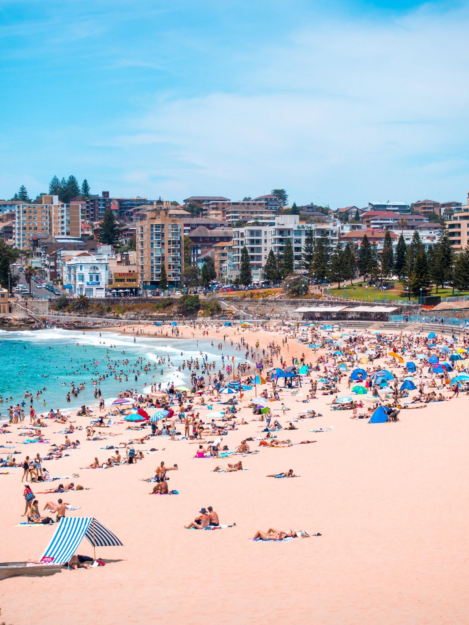 A busy Bondi beach in Sydney, Australia