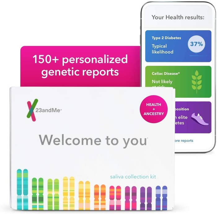 the 23andMe kit next to a phone with the app open