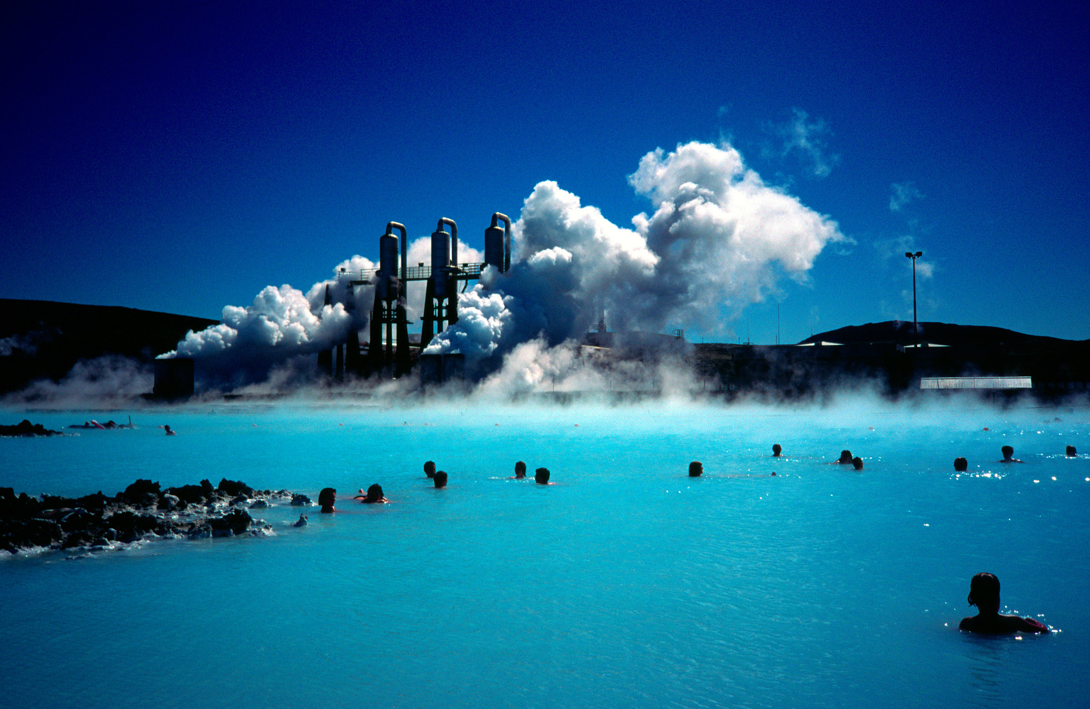 People in the Blue Lagoon in Iceland