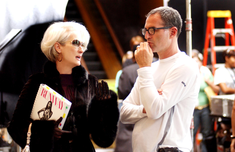 """Meryl Streep speaks to Director David Frankel on set of """"The Devil Wears Prada"""""""