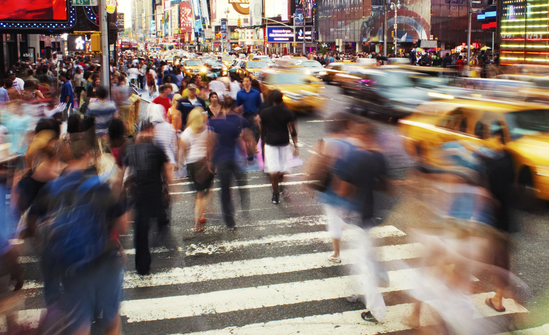 A crowded intersection in Times Square, NYC