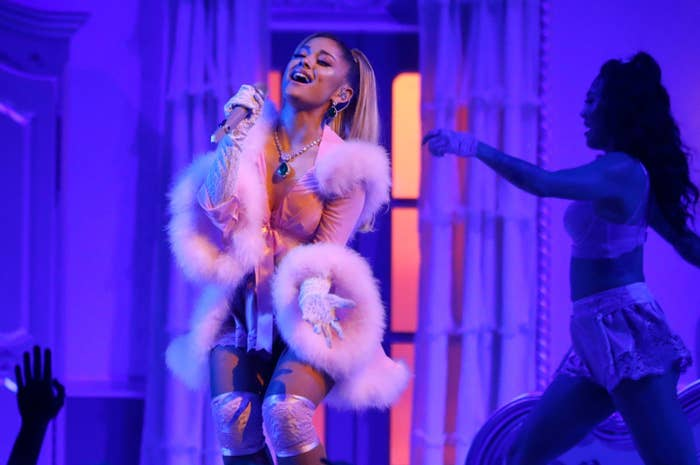 Ariana Grande sings on stage during the 2020 Grammy Awards