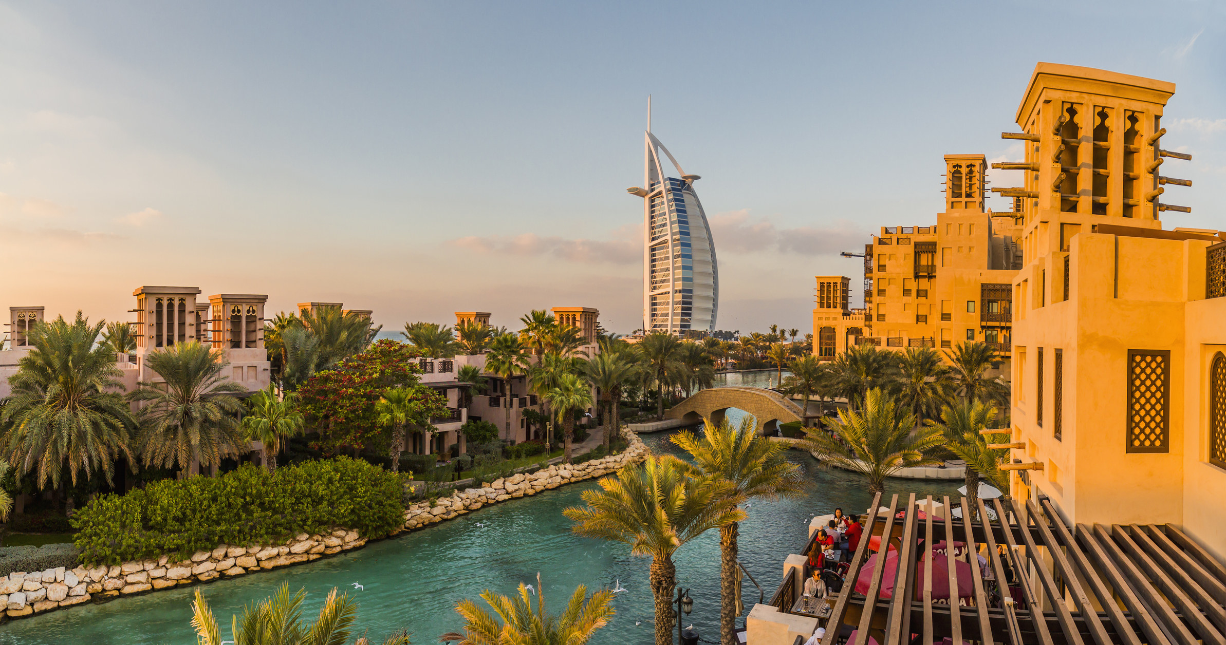 A cityscape of Dubai from an infinity pool