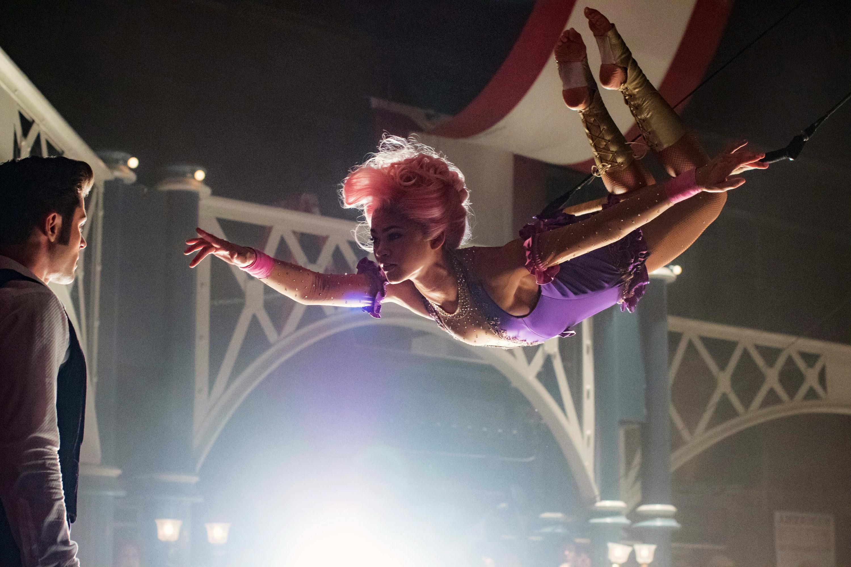 Zendaya doing an impressive acrobatic feat