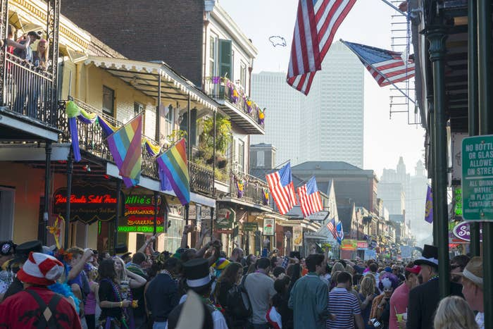 Crowded Bourbon Street in New Orleans for Mardi Gras
