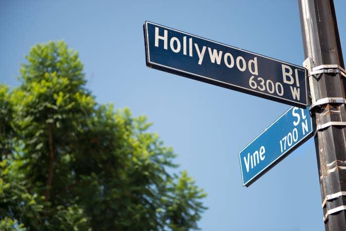A sign for Hollywood Boulevard