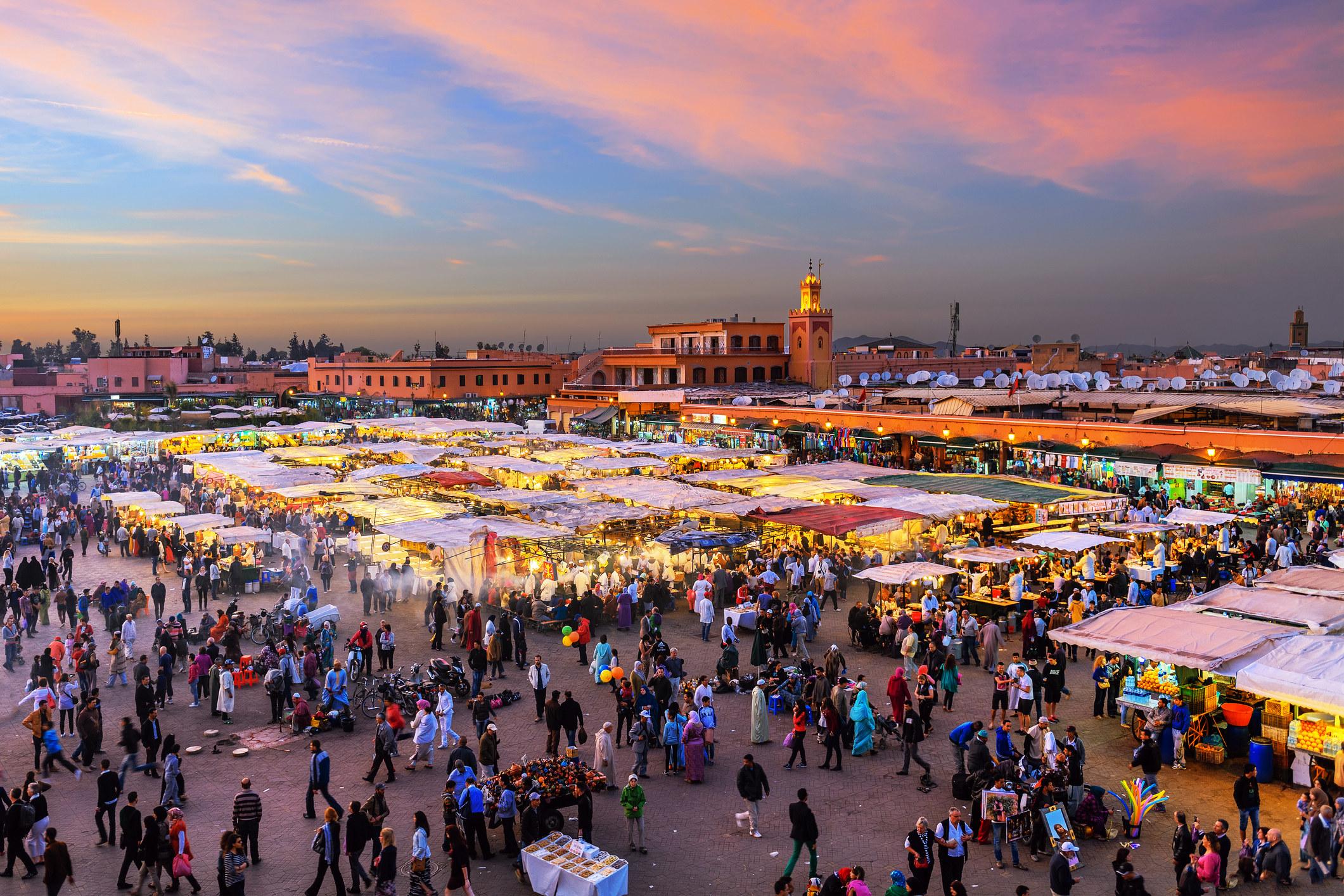 The main market square in Marrakesh