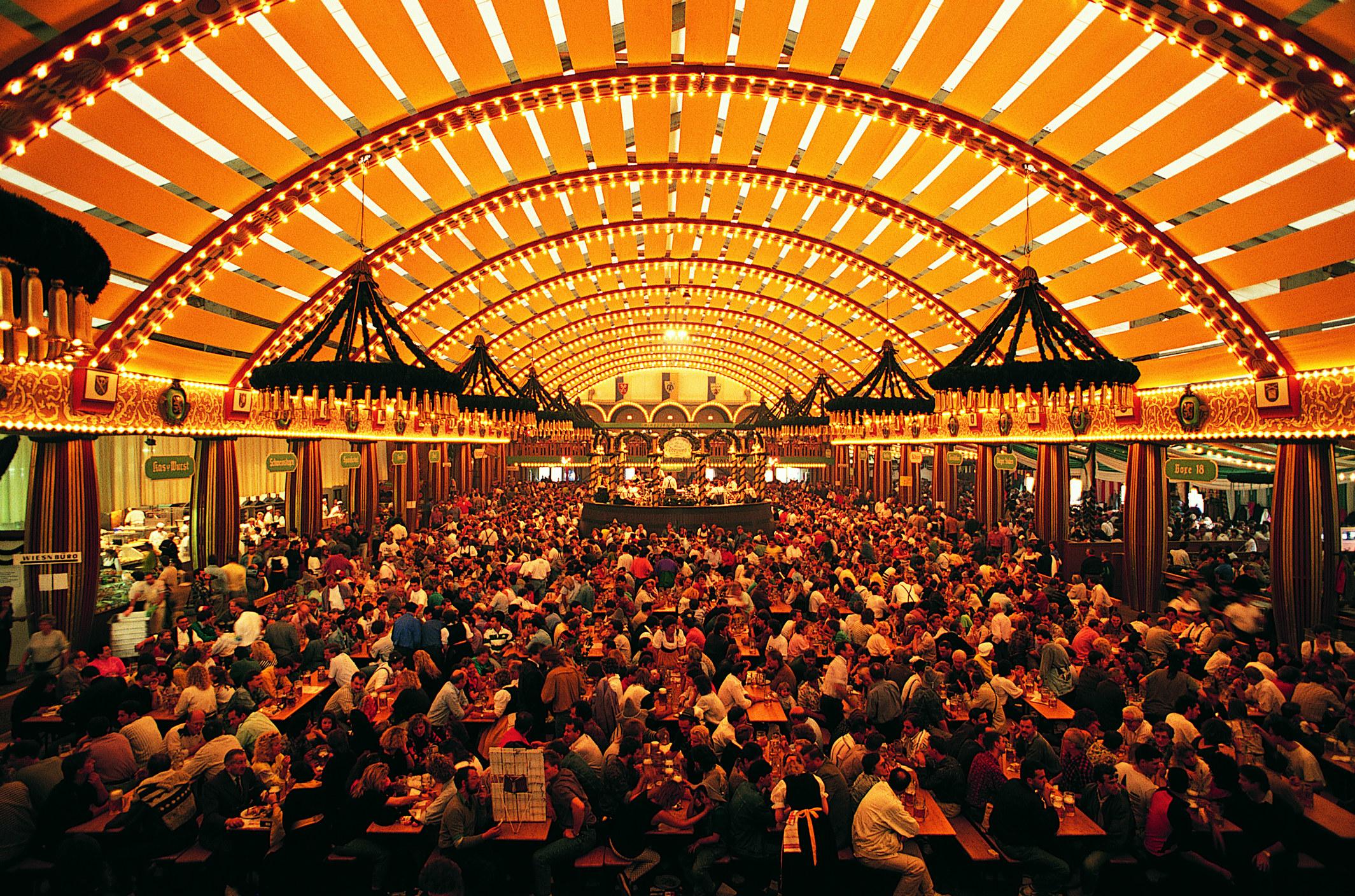 A crowded tent at Oktoberfest in Munich