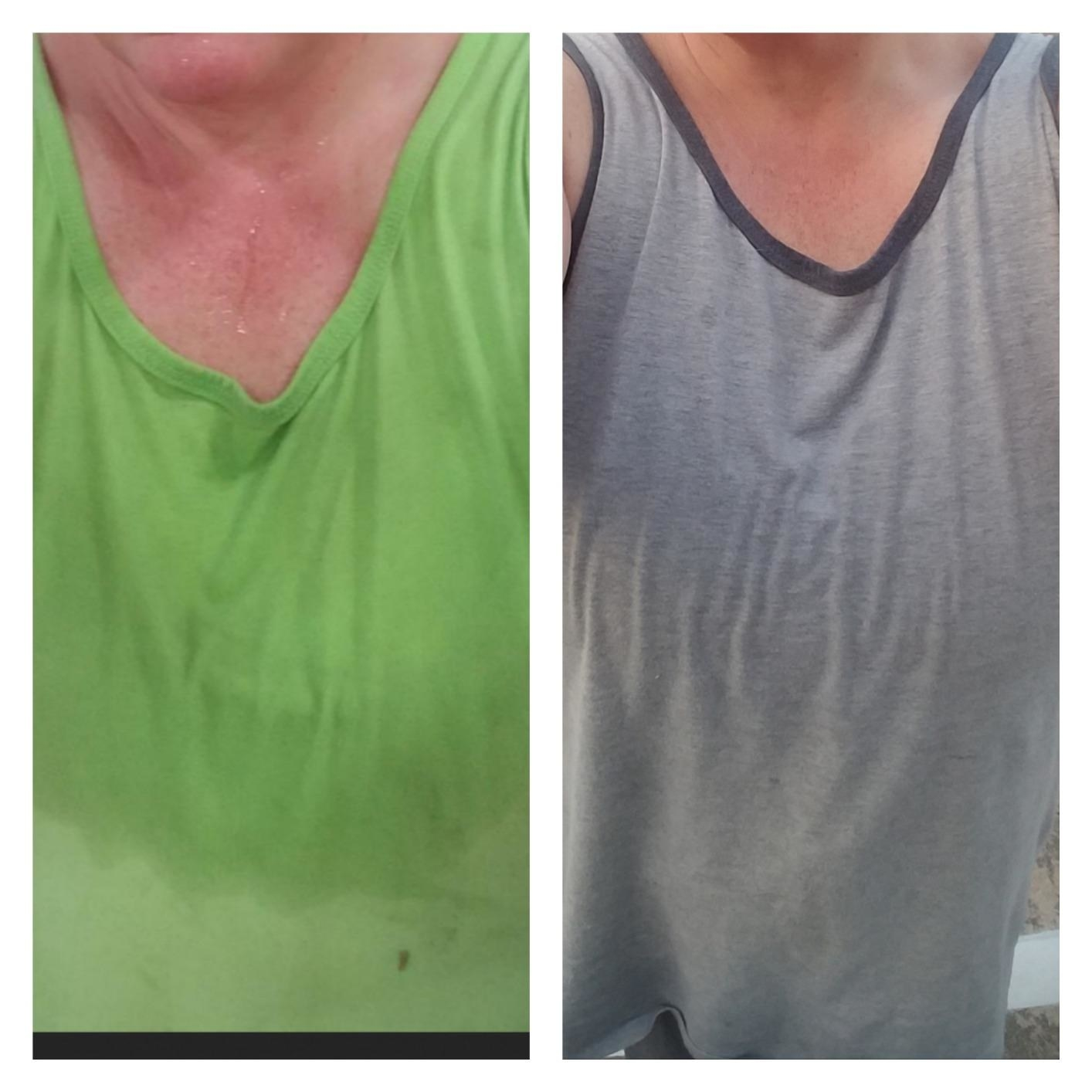 reviewer showing how sweaty they were in a green shirt and then after using the wipes with no sweat in a grey shirt