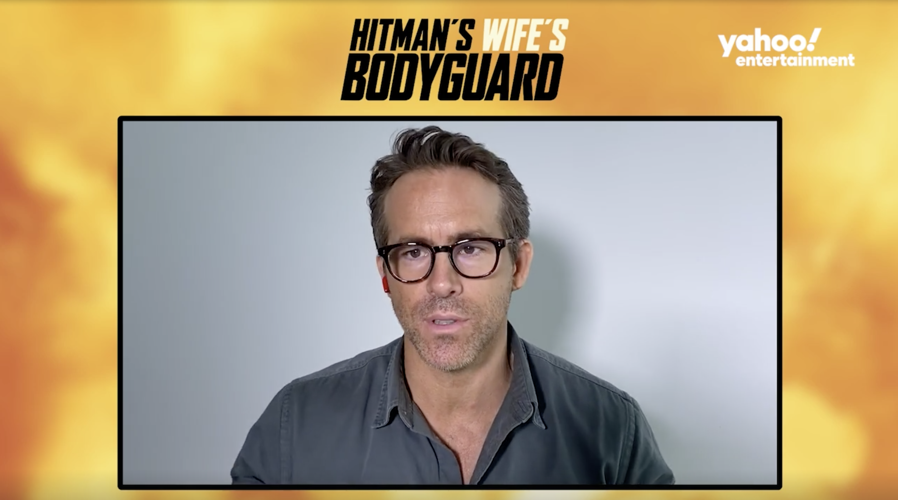 Ryan Reynolds speaks directly to camera in this Yahoo! Entertainment interview screenshot