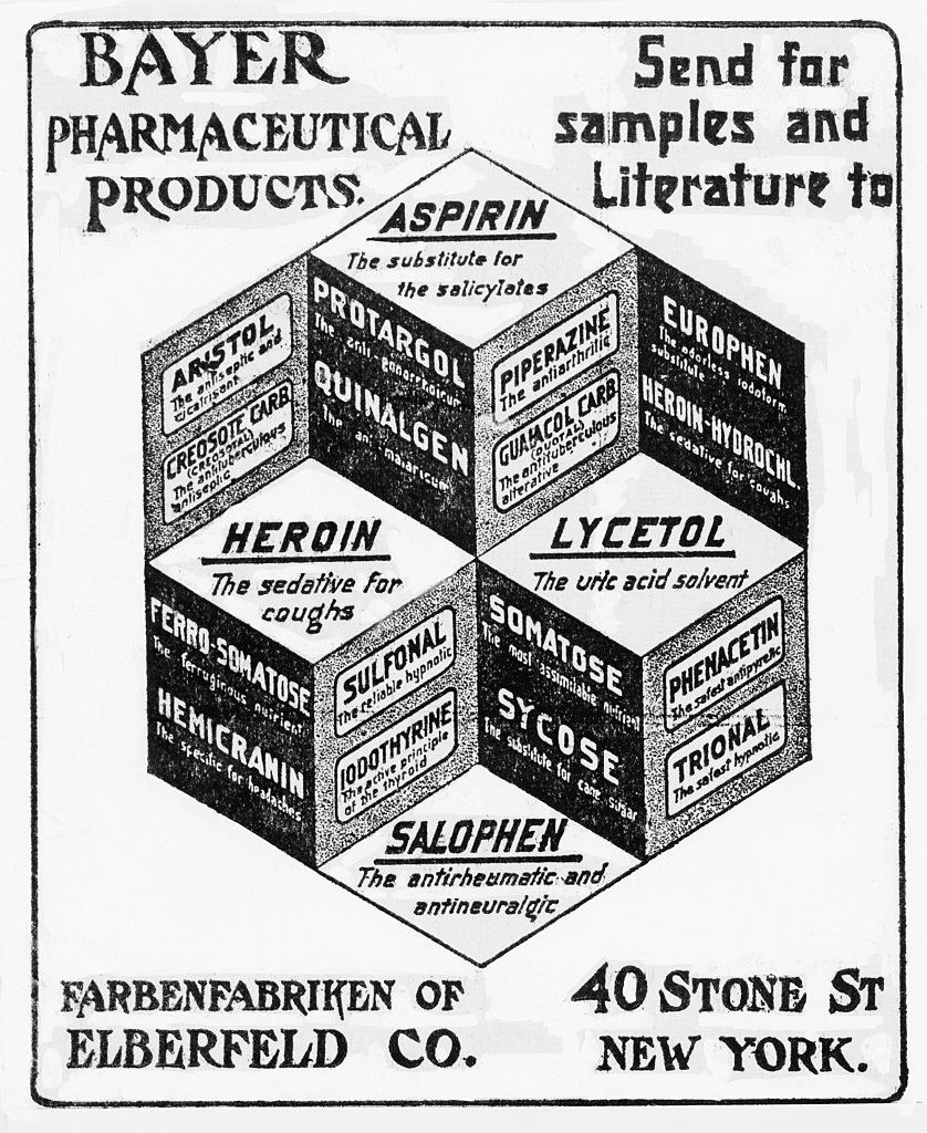 ad for Bayer Pharmaceuticals with heroin listed as a sedative for coughs