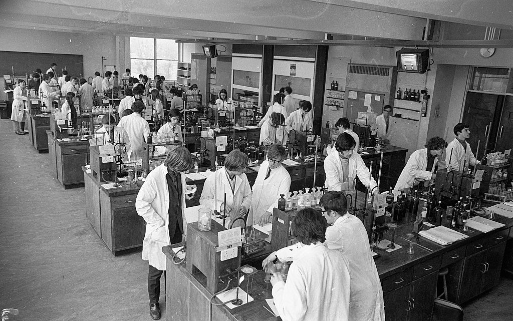 students in a chemistry classroom