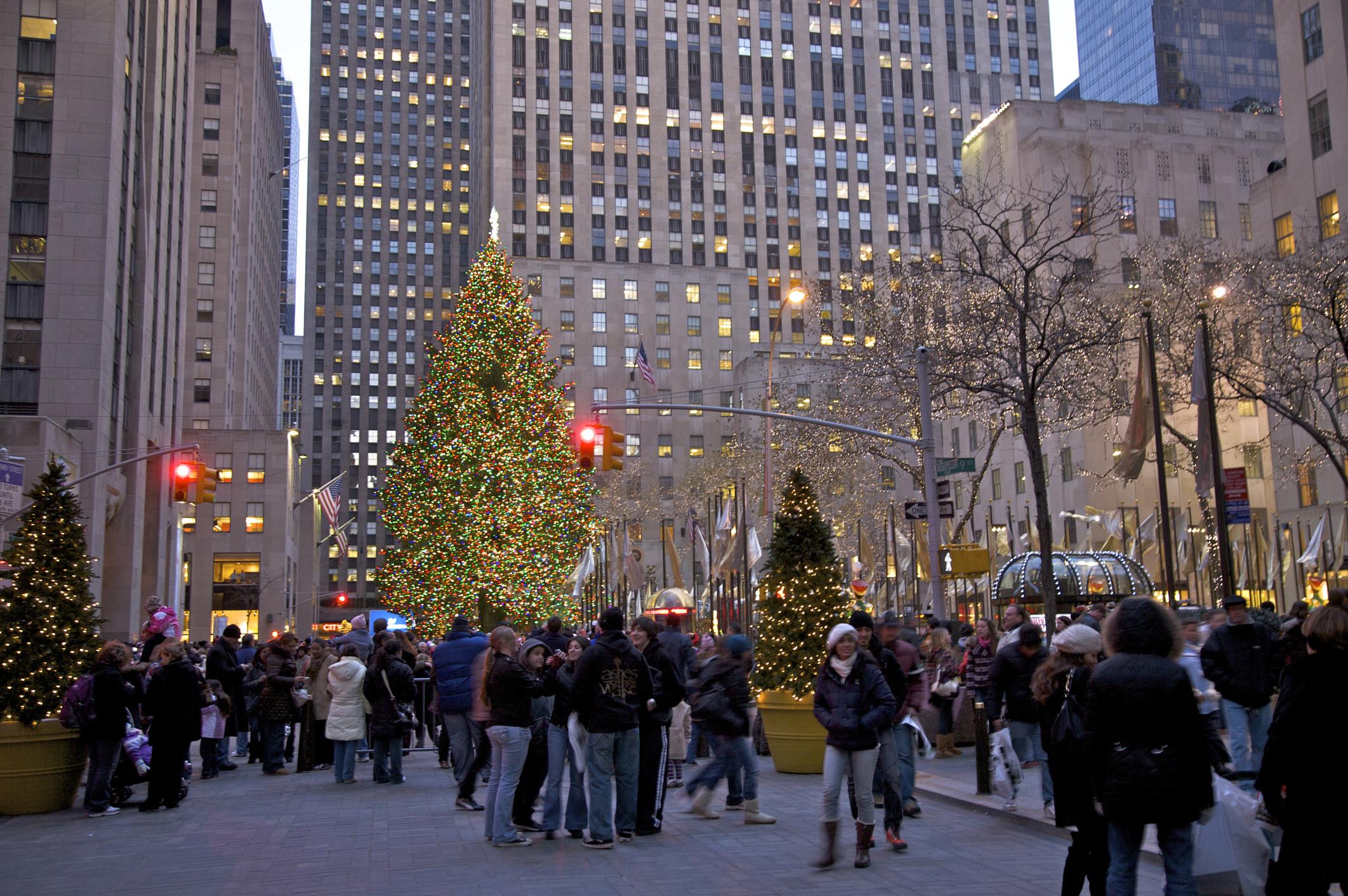 The Christmas tree lit up at Rockefeller Center