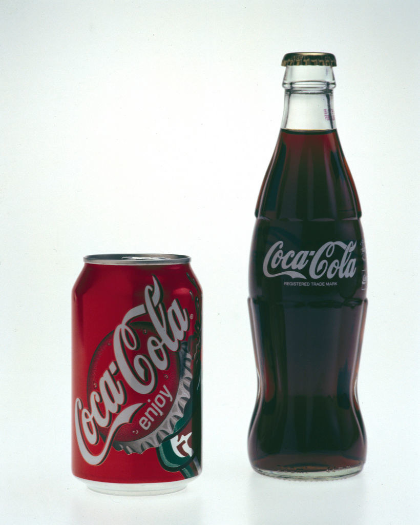 vintage coca cola can and bottle