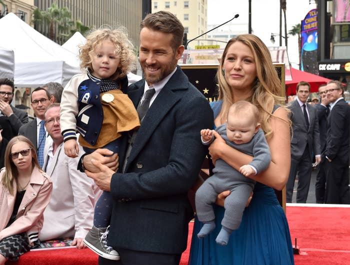 Actors Ryan Reynolds and Blake Lively with daughters James Reynolds and Ines Reynolds attend the ceremony honoring Ryan Reynolds with a Star on the Hollywood Walk of Fame on December 15, 2016 in Hollywood, California